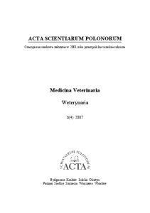 ACTA SCIENTIARUM POLONORUM. Medicina Veterinaria. Weterynaria