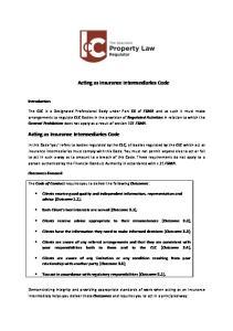 Acting as Insurance Intermediaries Code