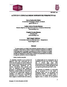 ACTITUD Y CIENCIAS DESDE DIFERENTES PERSPECTIVAS