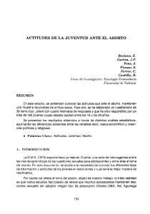 ACTITUDES DE LA JUVENTUD ANTE EL ABORTO