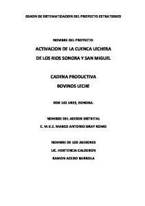 ACTIVACION DE LA CUENCA LECHERA DE LOS RIOS SONORA Y SAN MIGUEL CADENA PRODUCTIVA BOVINOS LECHE
