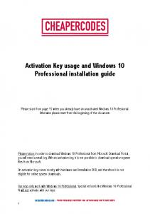 Activation Key usage and Windows 10 Professional installation guide