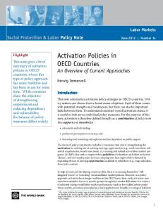 Activation Policies in OECD Countries An Overview of Current Approaches