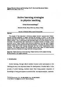 Active learning strategies in physics teaching