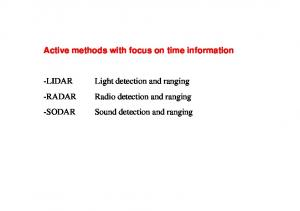 Active methods with focus on time information. Light detection and ranging Radio detection and ranging Sound detection and ranging