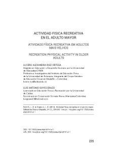 ACTIVIDAD FISICA RECREATIVA EN EL ADULTO MAYOR