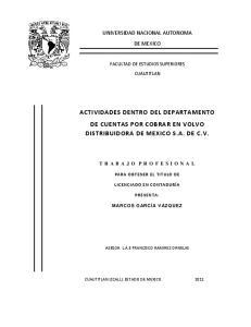ACTIVIDADES DENTRO DEL DEPARTAMENTO DE CUENTAS POR COBRAR EN VOLVO DISTRIBUIDORA DE MEXICO S.A. DE C.V