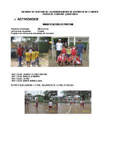 ACTIVIDADES INFORME DE GESTION DE LA COORDINACION DE DEPORTES DE FLANDES MESES DE FEBRERO JUNIO 2012