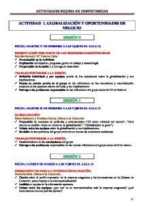 ACTIVIDADES MEJORA DE COMPETENCIAS ACTIVIDAD 1. GLOBALIZACIÓN Y OPORTUNIDADES DE NEGOCIO SESIÓN 0