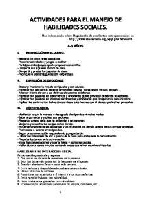ACTIVIDADES PARA EL MANEJO DE HABILIDADES SOCIALES