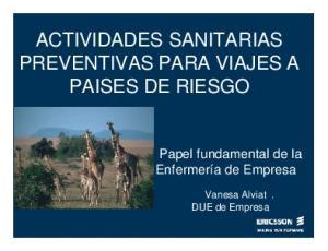 ACTIVIDADES SANITARIAS PREVENTIVAS PARA VIAJES A PAISES DE RIESGO
