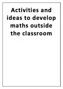 Activities and ideas to develop maths outside the classroom