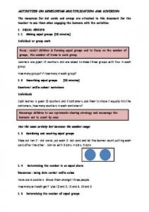 ACTIVITIES ON DEVELOPING MULTIPLICATION AND DIVISION