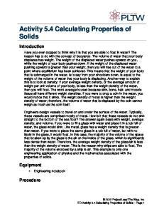 Activity 5.4 Calculating Properties of Solids