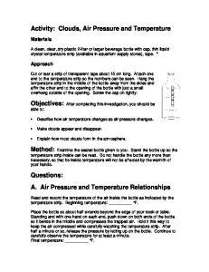 Activity: Clouds, Air Pressure and Temperature
