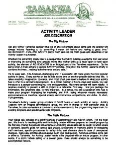 ACTIVITY LEADER JOB DESCRIPTION