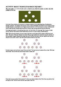 ACTIVITY: MAGIC TRIANGLES & MAGIC SQUARE 1
