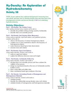 Activity Overview. Hy-Density: An Exploration of Hydrodensitometry Activity 3B. Corpulosity. Activity Objectives: LESSON 3