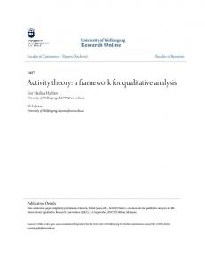 Activity theory: a framework for qualitative analysis