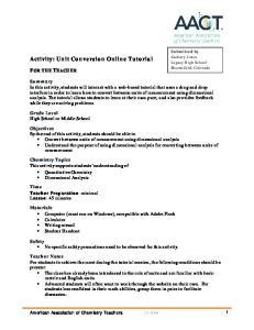 Activity: Unit Conversion Online Tutorial