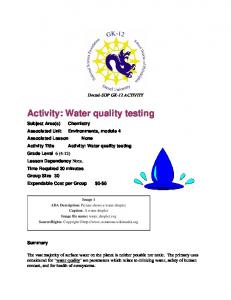 Activity: Water quality testing