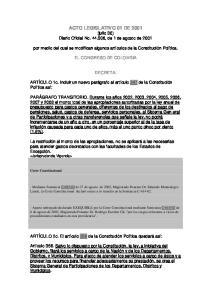 ACTO LEGISLATIVO 01 DE 2001 (julio 30) Diario Oficial No , de 1 de agosto de 2001
