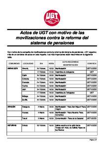 Actos de UGT con motivo de las movilizaciones contra la reforma del sistema de pensiones