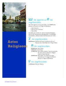 Actos Religiosos. 29 de agosto al 6 de septiembre