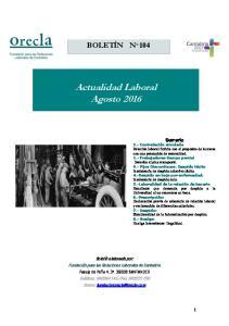 Actualidad Laboral Agosto 2016