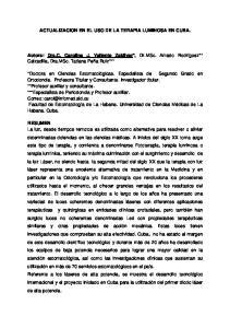 ACTUALIZACION EN EL USO DE LA TERAPIA LUMINOSA EN CUBA