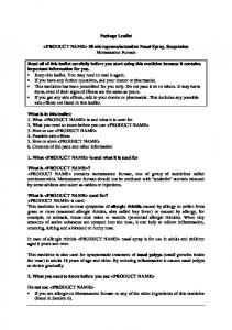actuation Nasal Spray, Suspension Mometasone Furoate