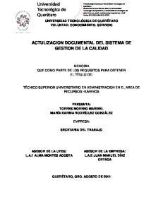 ACTULIZACION DOCUMENTAL DEL SISTEMA DE GESTION DE LA CALIDAD