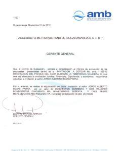 ACUEDUCTO METROPOLITANO DE BUCARAMANGA S.A. E.S.P GERENTE GENERAL