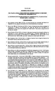 ACUERDO # 001 DE Por el cual se reforma el REGLAMENTO DE CONTRATACION DE LA SOCIEDAD CENTRALES DE TRANSPORTES S.A