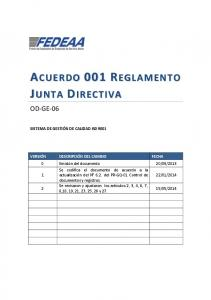 ACUERDO 001 REGLAMENTO JUNTA DIRECTIVA