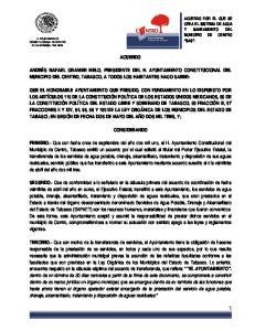 ACUERDO CONSIDERANDO ACUERDO POR EL QUE SE CREA EL SISTEMA DE AGUA Y SANEAMIENTO DEL MUNICIPIO DE CENTRO SAS