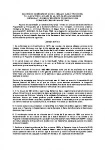 ACUERDO DE COORDINACION QUE CELEBRAN EL EJECUTIVO FEDERAL