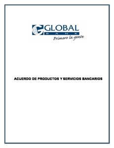 ACUERDO DE PRODUCTOS Y SERVICIOS BANCARIOS