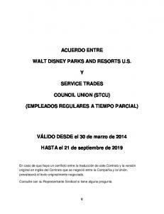 ACUERDO ENTRE WALT DISNEY PARKS AND RESORTS U.S. SERVICE TRADES COUNCIL UNION (STCU) (EMPLEADOS REGULARES A TIEMPO PARCIAL)