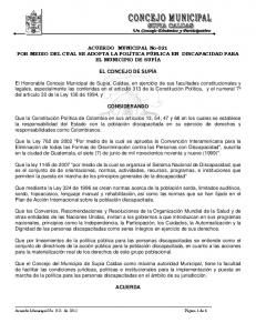 ACUERDO MUNICIPAL No-021 POR MEDIO DEL CUAL SE ADOPTA LA POLÍTICA PÚBLICA EN DISCAPACIDAD PARA EL MUNICIPIO DE SUPÍA EL CONCEJO DE SUPÍA