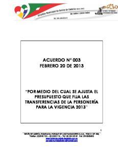ACUERDO N 003 FEBRERO 20 DE 2013