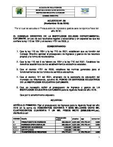 ACUERDO Nº. 08 (Noviembre 18 de 2015) Por el cual se aprueba el Presupuesto de ingresos y gastos para la vigencia fiscal del año 2016