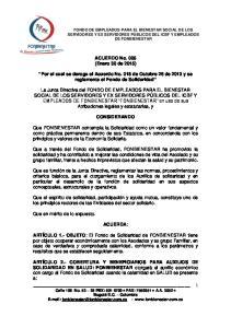 ACUERDO No. 005 (Enero 30 de 2015) Por el cual se deroga el Acuerdo No. 018 de Octubre 26 de 2013 y se reglamenta el Fondo de Solidaridad