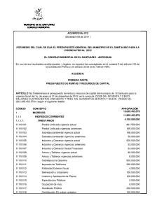 ACUERDO No 012 (Diciembre 09 de 2011 ) POR MEDIO DEL CUAL SE FIJA EL PRESUPUESTO GENERAL DEL MUNICIPIO DE EL SANTUARIO PARA LA VIGENCIA FISCAL 2012