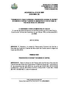 ACUERDO No. 015 DE 2009 (NOVIEMBRE 30)