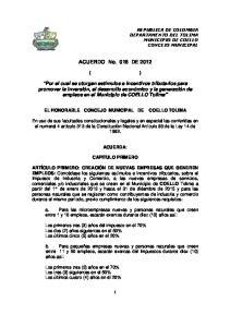 ACUERDO No. 018 DE 2012