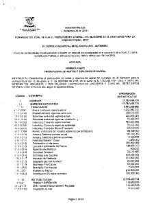 ACUERDO No 023 ( Noviembre 28 de 2014 ) POR MEDIO DEL CUAL SE FIJA EL PRESUPUESTO GENERAL DEL MUNICIPIO DE EL SANTUARIO PARA LA VIGENCIA FISCAL 2015