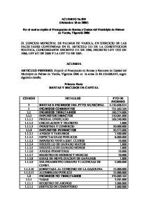 ACUERDO No 025 (Diciembre 10 de 2005) Por el cual se expide el Presupuesto de Rentas y Gastos del Municipio de Palmar de Varela, Vigencia 2006