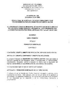 ACUERDO No. 029 POR EL CUAL SE ADOPTA EL ESTATUTO TRIBUTARIO Y SUS PROCEDIMIENTOS PARA EL MUNICIPIO DE PUERTO GAITAN