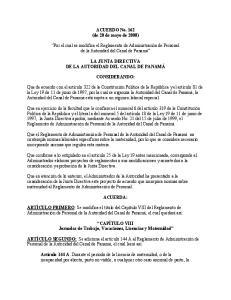 ACUERDO No. 162 (de 20 de mayo de 2008) Por el cual se modifica el Reglamento de Administración de Personal de la Autoridad del Canal de Panamá